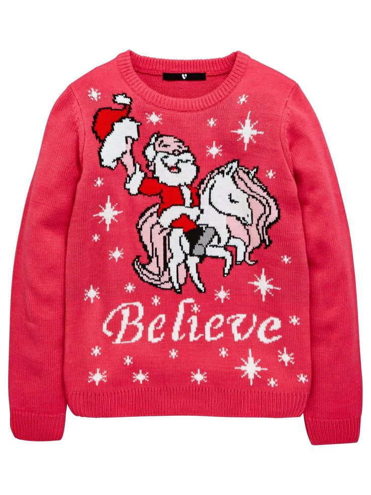 V by Very Girls Believe Unicorn Christmas Jumper It goes without saying that Santa Claus is real, but who's to say unicorns can't be too? Having given the reindeer a day off, this girls Christmas jumper from V by Very sees St Nick himself riding a unicorn and surrounded by snowflakes, with a slogan reading believe below him.Styling Ideas Add a skirt or jeans and her favourite shoes and she'll be ready to open all her presents on the big day!