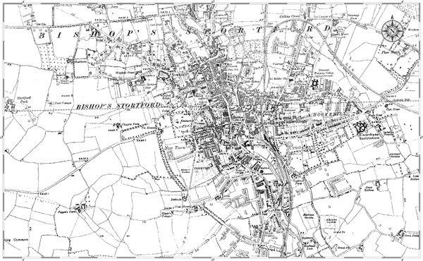 Old map of Bishops Stortford
