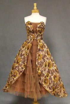 Floral Voile 1950's Cocktail Dress