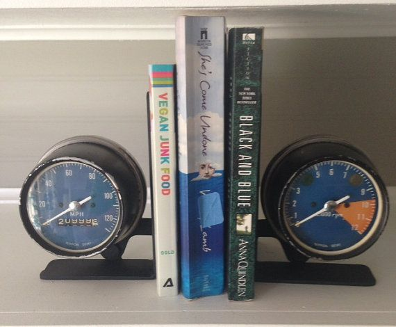 Industrial Bookends. These unique industrial bookends will make a great gift for the gear head in your life. They are made from vintage Honda motorcycle gauge cluster and are sure to be a instant conversation piece.