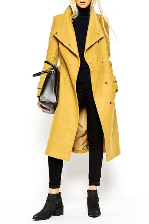 Turn-Down Collar Belt Tie-Up Trench Coat