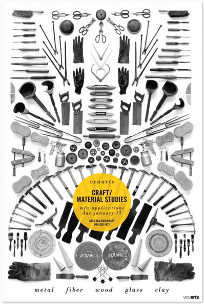 Knolling: VCUarts Department of Craft/Material Studies poster by Scout Design.