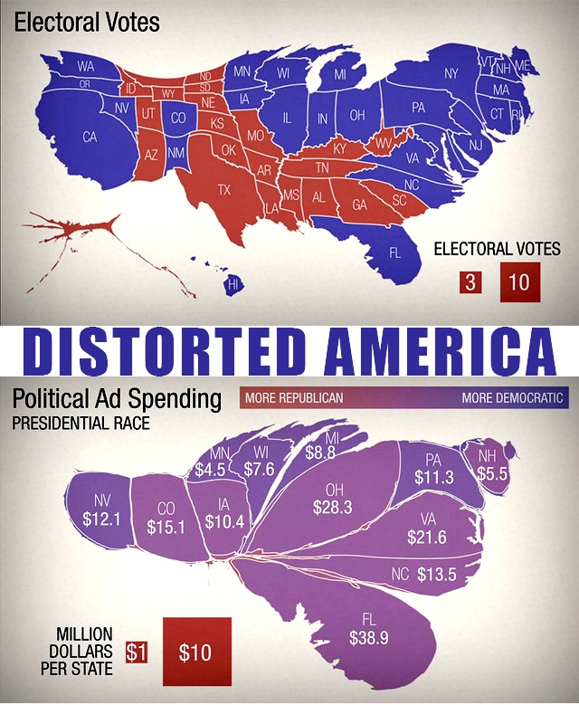 Two Maps Of The United States Distorted To Show The Weight Of Electoral Votes And The