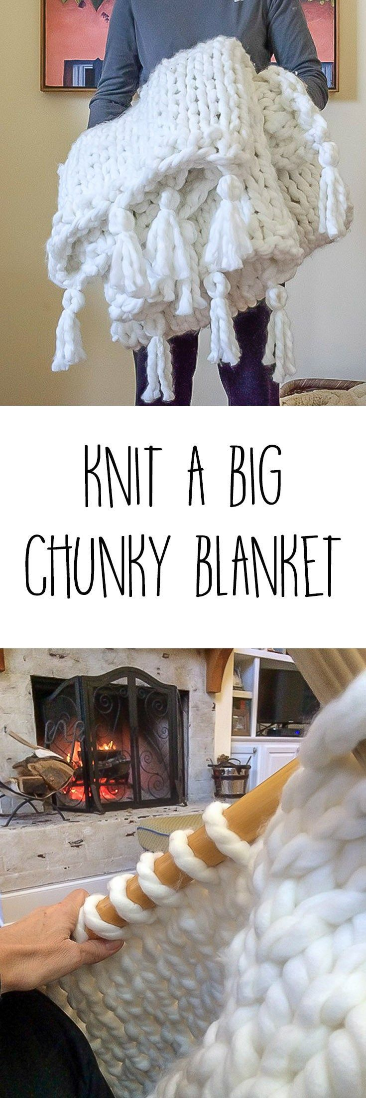 I love a big, chunky knit blanket. Illustrated instructions (with video) to diy a tasseled thick, cozy and chunky knit blanket...a simple one day project. #downloadablepattern #knitting #knittingpattern