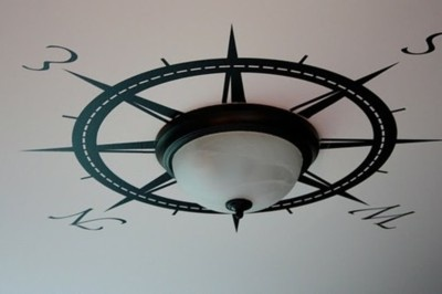 Compass on the ceiling, very cool idea.