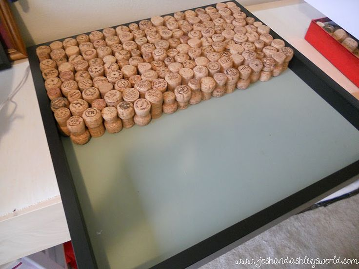 She said it took about 100 corks to make this board.  The bath mat I want to make should use about the same (50 corks to go!)