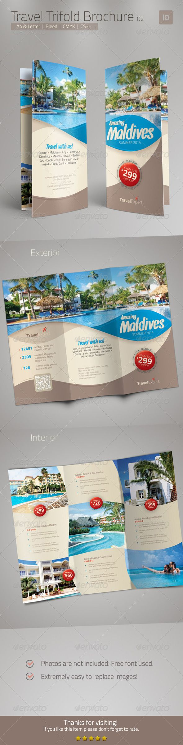 Travel Brochure - Trifold  InDesign Template • Download ➝ https://graphicriver.net/item/travel-brochure-trifold-/6800019?ref=pxcr