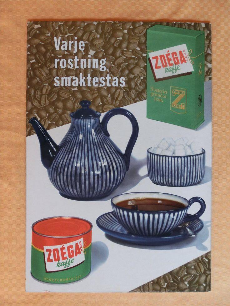 Äldre reklamskylt i kraftig papp med reklam för Zoegas Kaffe, 48 x 33 cm