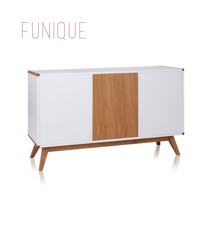 High Gloss White Sideboard With Oak Legs See More At Http Funique