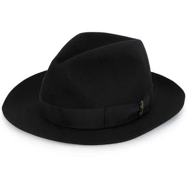 Borsalino fedora hat (7,620 MXN) ❤ liked on Polyvore featuring men's fashion, men's accessories, men's hats, black, mens fedora hats and borsalino mens hats
