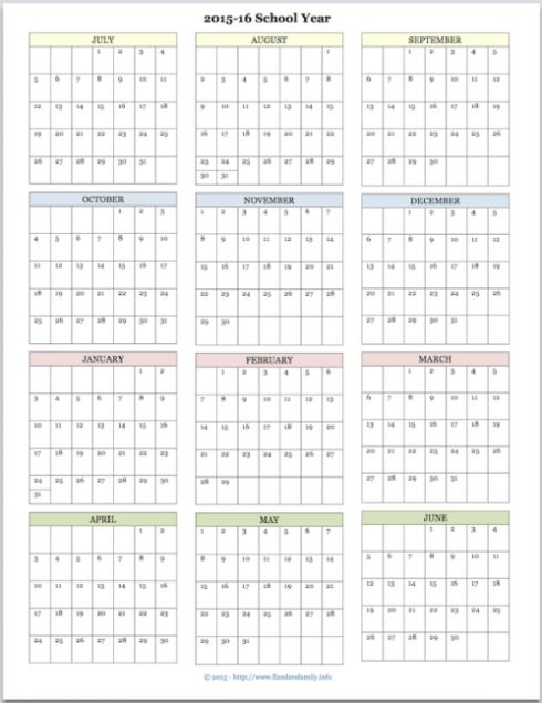 Free Printable Academic Calendar For 2015 2016 | Www.flandersfamily.info