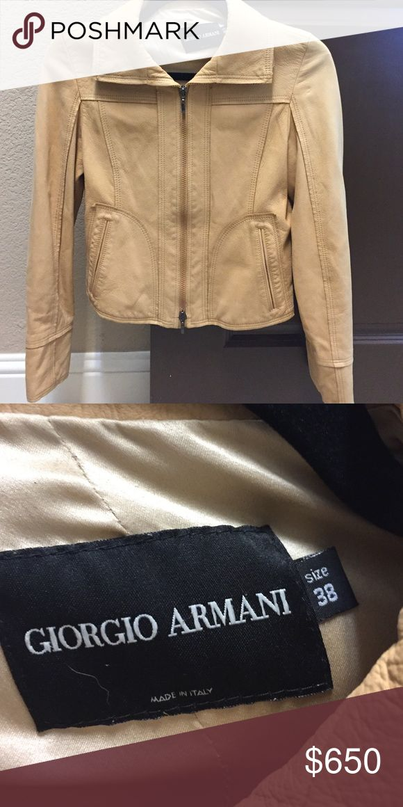 Giorgio Armani leather jacket size 38 Buttery soft Giorgio Armani leather jacket size 38.  Please note it's a size 38.  There's no way on posh to pick Italian sizes.  I'm a 4 so I picked 4 Giorgio Armani Jackets & Coats