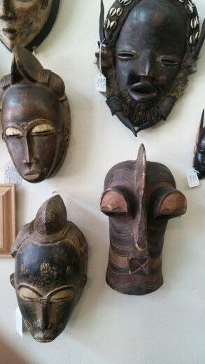 African masks at Buchanan's Antiquities and Militaria, Weatherford, Texas, USA.