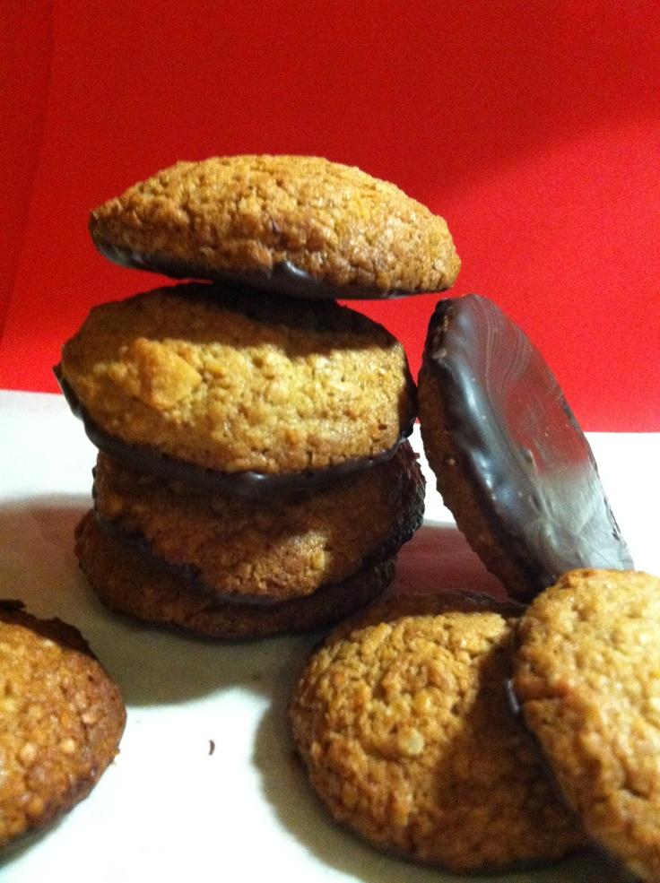 Choc bottom gluten free ANZAC bikkies.