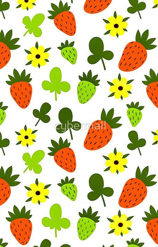 Pattern Hand Drawing Strawberries Flowers