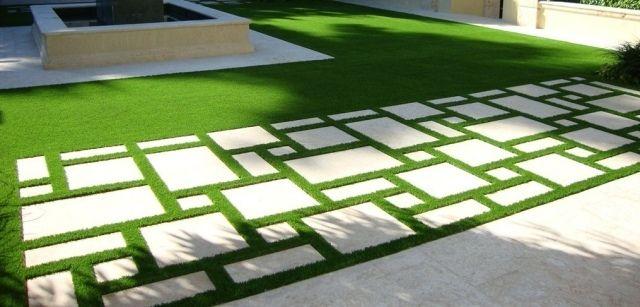 jardin pelouse synthétique dalles béton-super