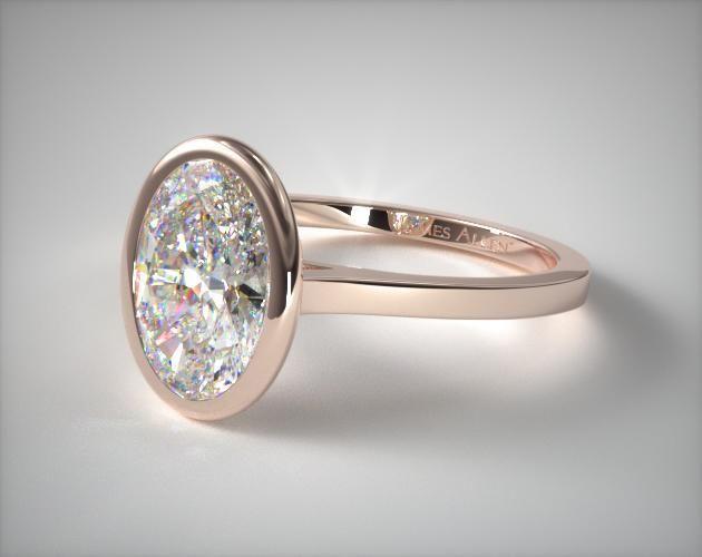 41283 engagement rings, solitaire, 14k white gold bezel solitaire engagement ring oval center item - Mobile