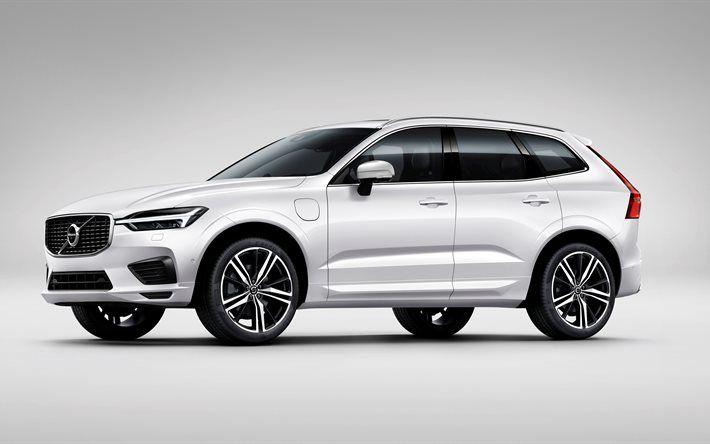 Volvo XC60, 2017, R Design, 4k, white XC60, crossover, SUV, new Swedish cars, Volvo