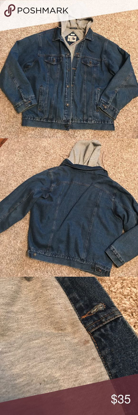 Men's Jean Jacket with Lined sweater hoodie Men's Jean jacket lined with an attached gray sweater hoodie.  In good used condition other than pilling on the inside sweater and a few minor stains on the inside.  Men's size XL.  Make an offer! austin clothing co Jackets & Coats