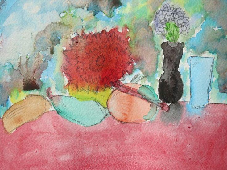 Aquarel tijdens kinder atelier