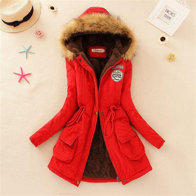 Winter women coat 2016 Women's Parka Casual Outwear Military Hooded fur Coat Down Jackets Winter Coat for Female