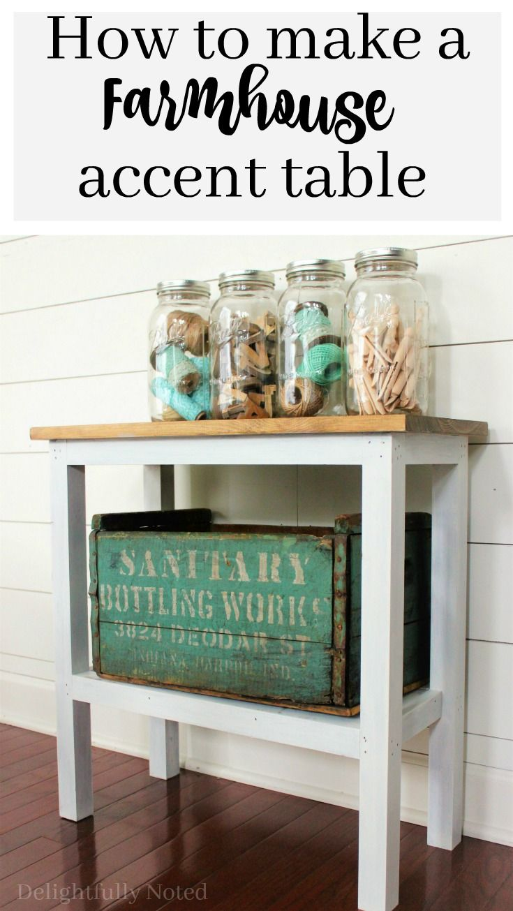 DIY easy-to-build farmhouse accent table. Perfect piece of furniture for narrow spaces like a powder room or small entryway.