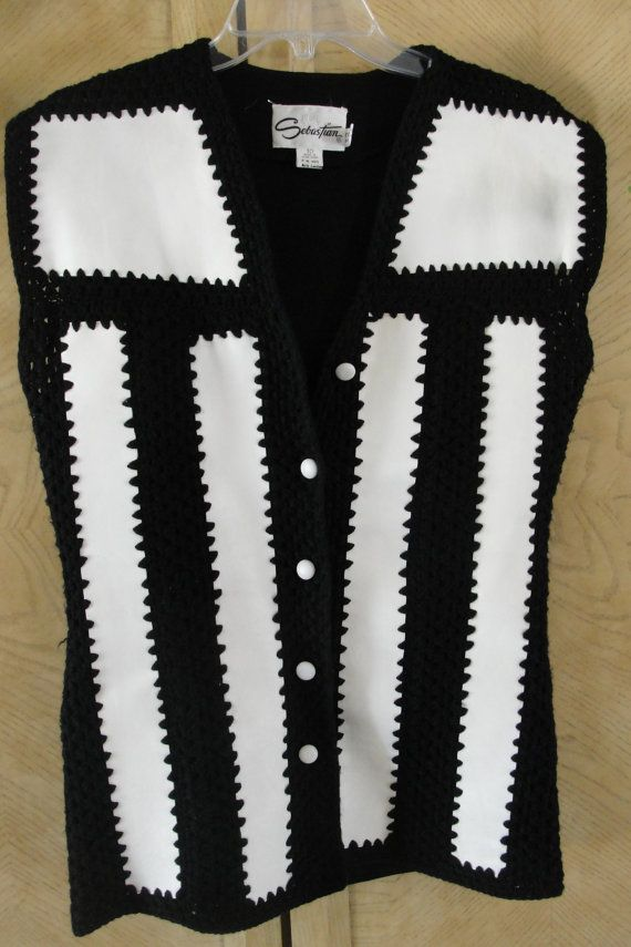 vintage leather vest with crocheted detail by bringinitbackvintage