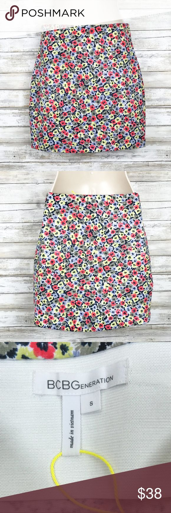 NWOT BCBGeneration floral mini skirt sz S BCBGeneration floral banded mini skirt  sz S  Polyester/ spandex NEW WITHOUT TAGS BCBGeneration Skirts Mini