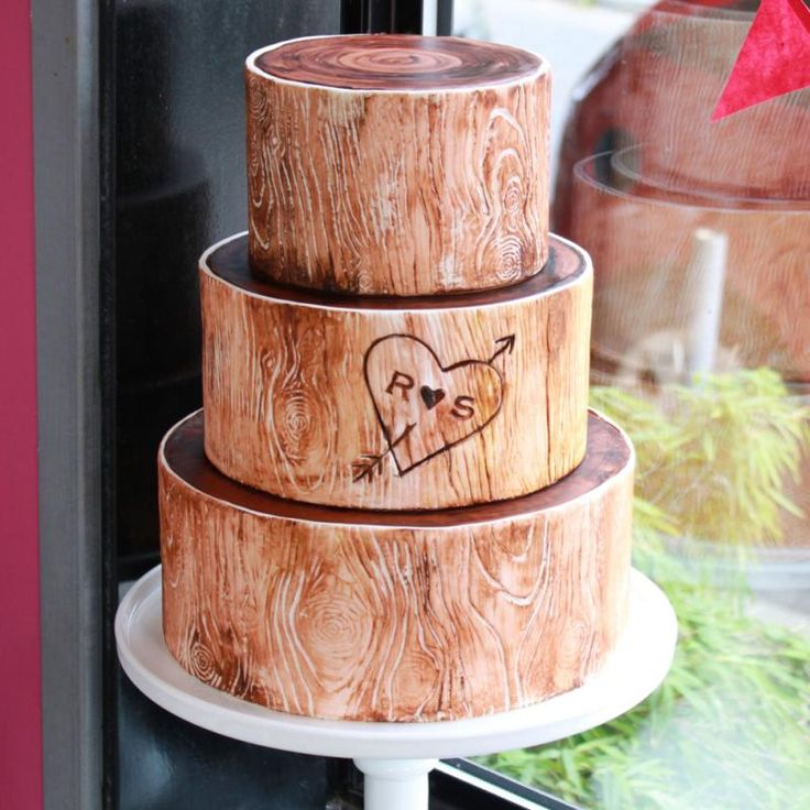 initials carved in birch tree cakes | product details cake as pictured has 6 8 and 10 round tiers cake is ...