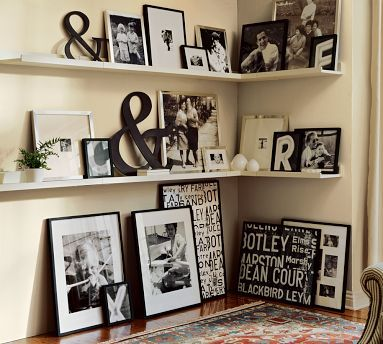 Pottery Barn: Decor Ideas, Photo Display, Black And White, Photo Wall, Living Room, Galleries Wall, Black White, Corner Shelves, Pottery Barn