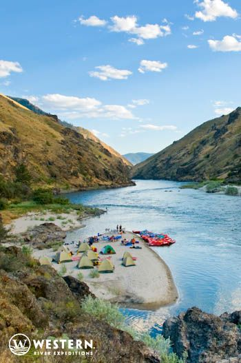 A gorgeous campout on the Salmon River rafting trip in Idaho #whitewater #rafting #vacation