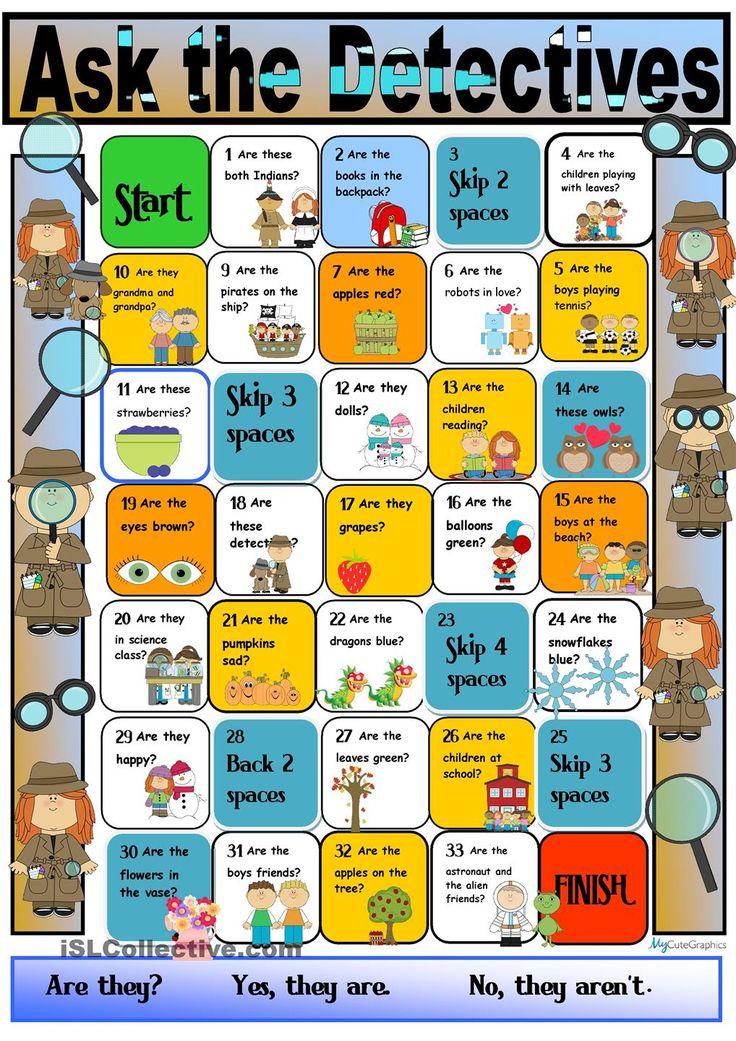Present Simple Boardgame (Detective Theme) English games
