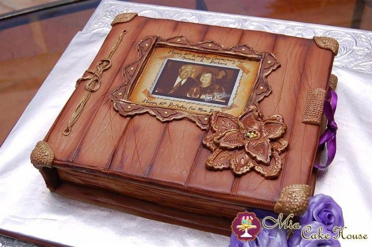 Vintage photo album cake - This vintage photo album cake was a very special order for a mother's 80th birthday and Wedding Anniversary. Hand painted and airbrushed with plenty of details, this cake surprised and touched her to tears, hope you like it!!!