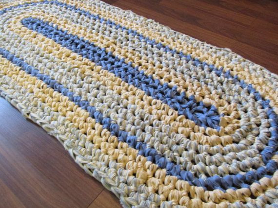 French Farmhouse Rug Crochet Rag Rug Oval Medium Cotton