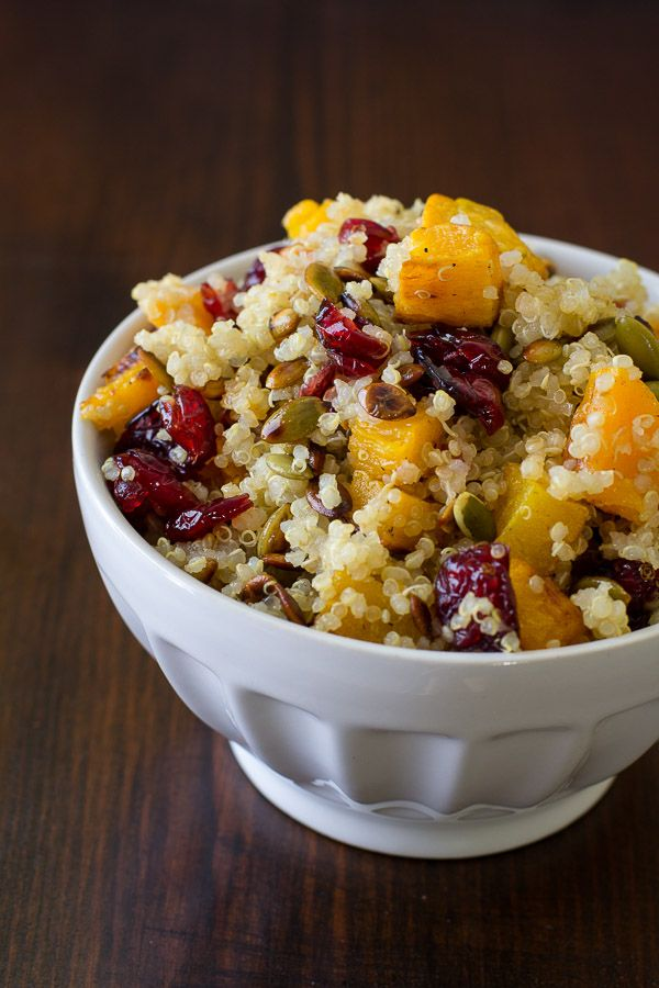 Quinoa with Roasted Squash, Dried Cranberries & Pepitas - delicious!!