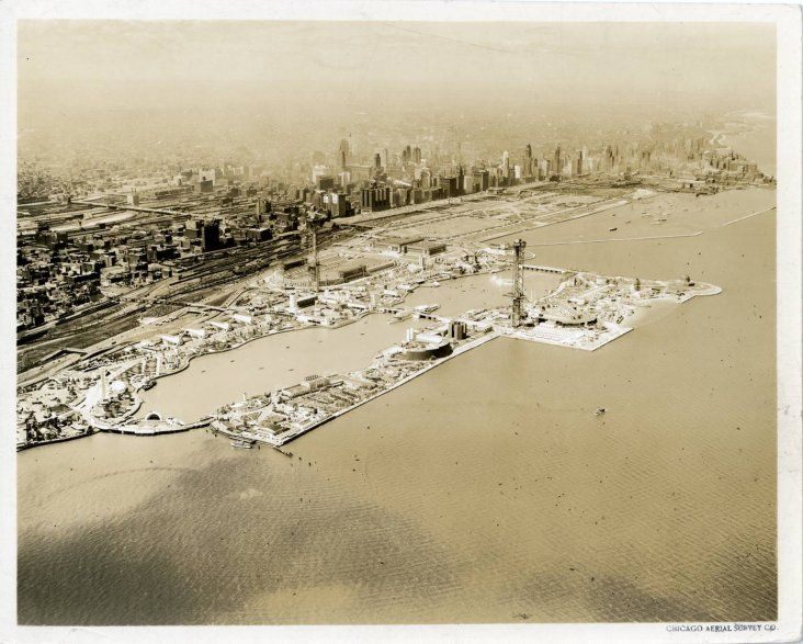 The Chicago World's Fair 1933 You can see the Planetarium, Field Museum and Soldier Field there.  Meigs field had not been built yet just S. of the Planetarium.  ALL that landfill!!
