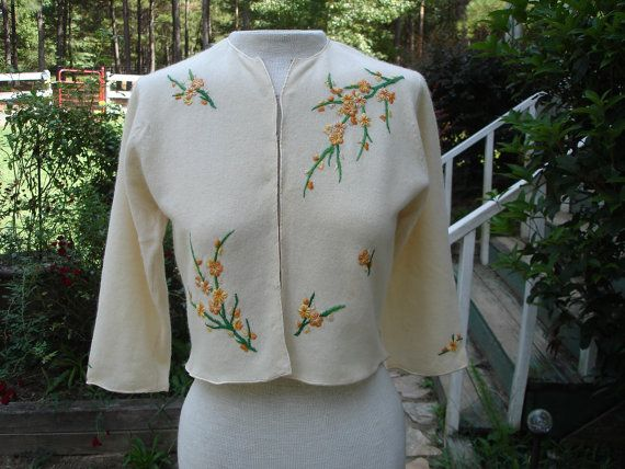Embroidered Vintage Sweater by ChameleonCreations on Etsy