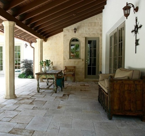 Classic Patio Ideas In Mediterranean Style: Patio: Tiles, Versailles Pattern (4 Sizes Of Tile Made Of