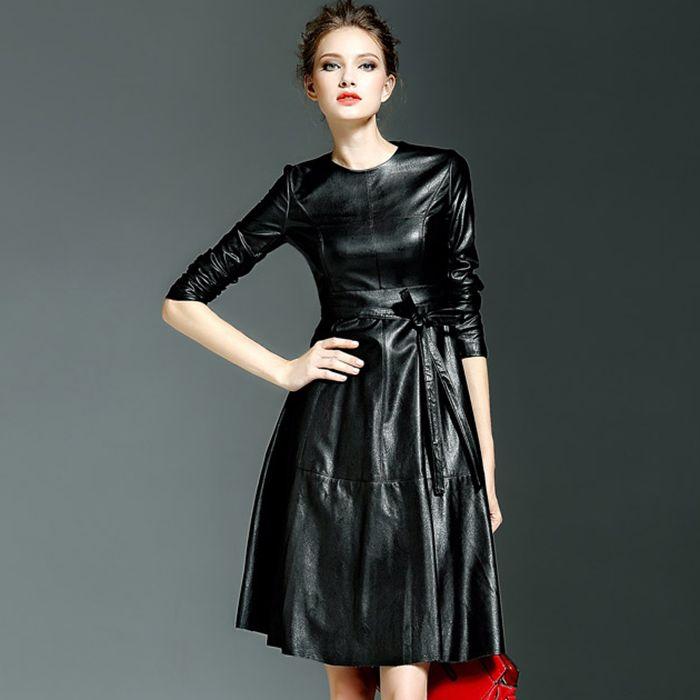 2016 printemps et automne femmes mode haute qualité PU noir à manches longues maxi robe jaune slim OL travail robe pour feminino dans Robes de Femmes de Vêtements et Accessoires sur AliExpress.com | Alibaba Group