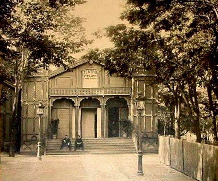 """El teatro Felipe en los Jardines del Buen Retiro. Era propiedad de Felipe Ducazcal y allí se estrenó el 2 de julio del año 1886 la zarzuela """"La Gran Vía"""""""