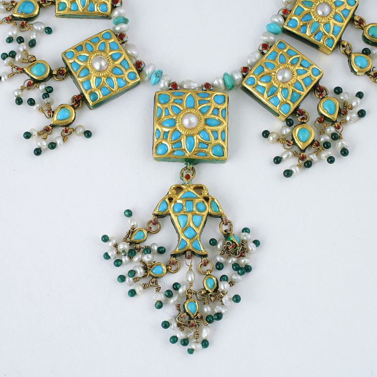 Indian Mughal-Style Enamel Turquoise Pearl Gold Necklace image 5