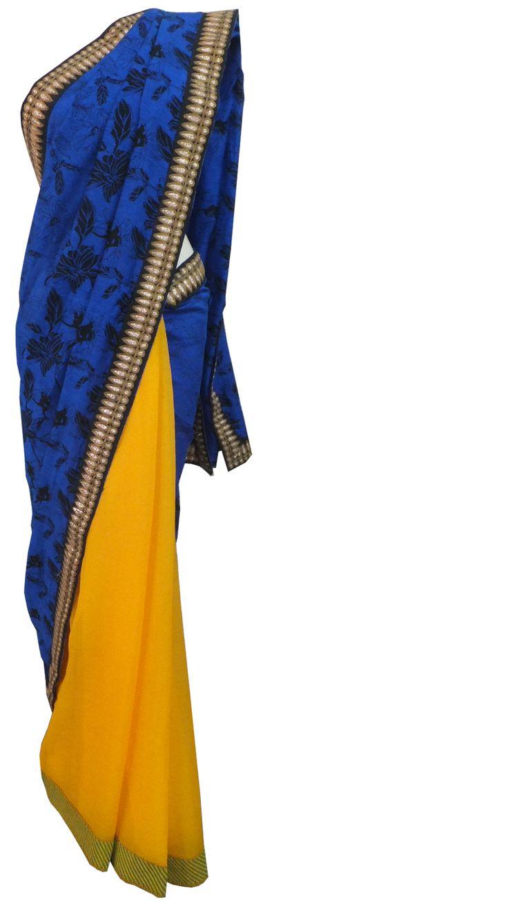 #yellow #chiffon and #blue #linen #saree with a gold and black border tahneebytanushree@gmail.com