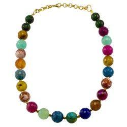 Collar corto agata multicolor