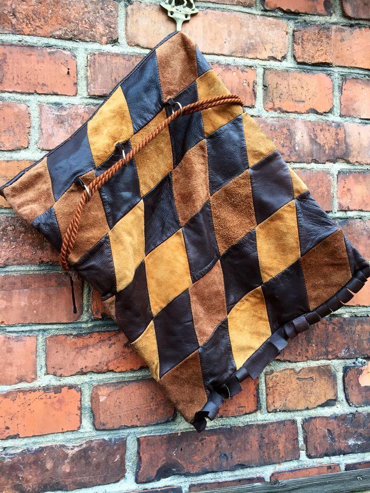 Wanderlust/patchwork/Italian leather/suede/ traveller/ shoulder bag/adjustable cord straps/leather frindge by WifinpoofVintage on Etsy