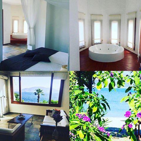 #Marmaris Kumlubük'te yer alan #Kumlubük Maris Otel'in Tower Suit adlı balayı odası. Otel denize sıfır konumda ve muhteşem bir bahçe ve kumsala sahip.