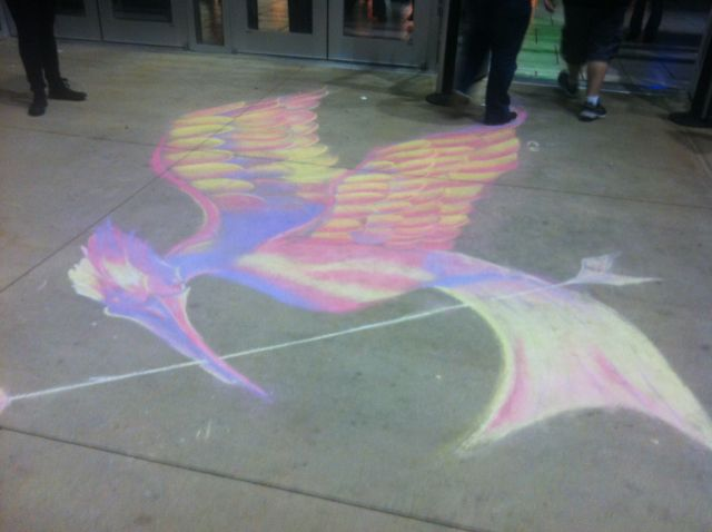cool chalk drawing that was done outside a Rave theater in Little Rock!