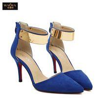 Ventas calientes 2015 del verano estilo Sexy Red Bottom tacones finos del dedo del pie puntiagudo zapatos mujer zapatos de boda bombas tamaño 35-39 negro y azul