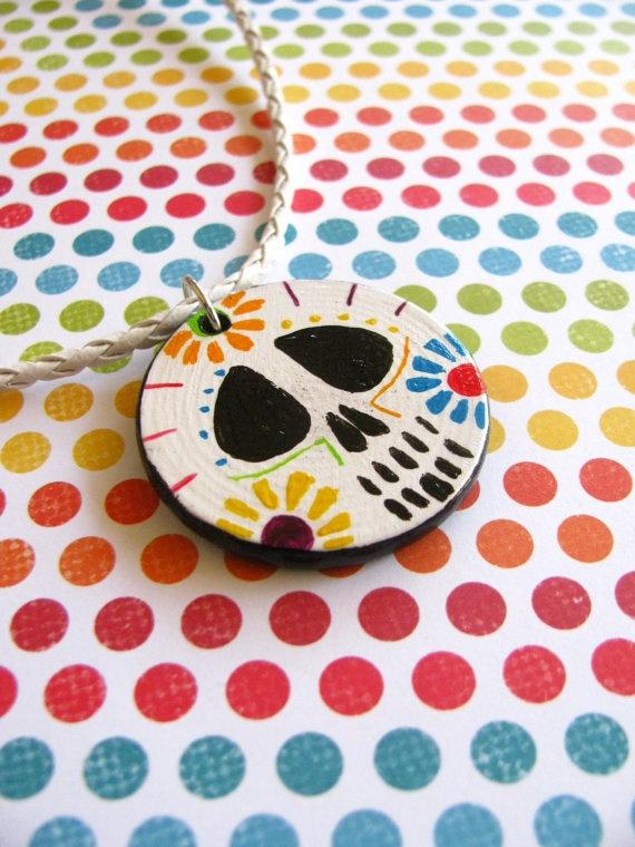 wooden necklace: Sugar Skull, Wooden Necklaces