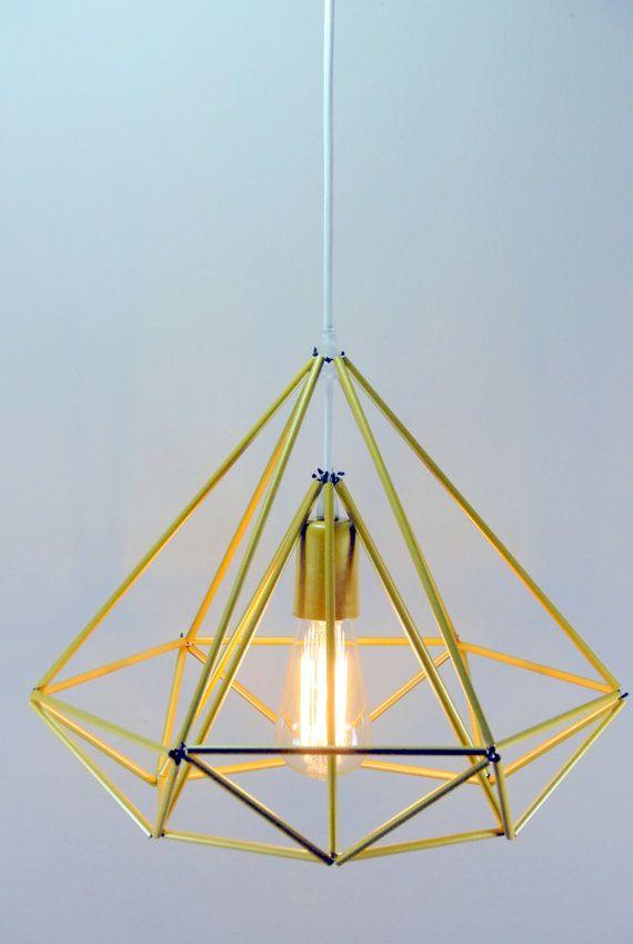 Diamond Himmeli light pendant geometric edison syle chandelier gold mini on Etsy, $145.00