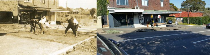 Road construction at shops cnr Ourimbah rd & Rosebery St #Mosman 1930 - 2015 #tbt #throwbackthursday